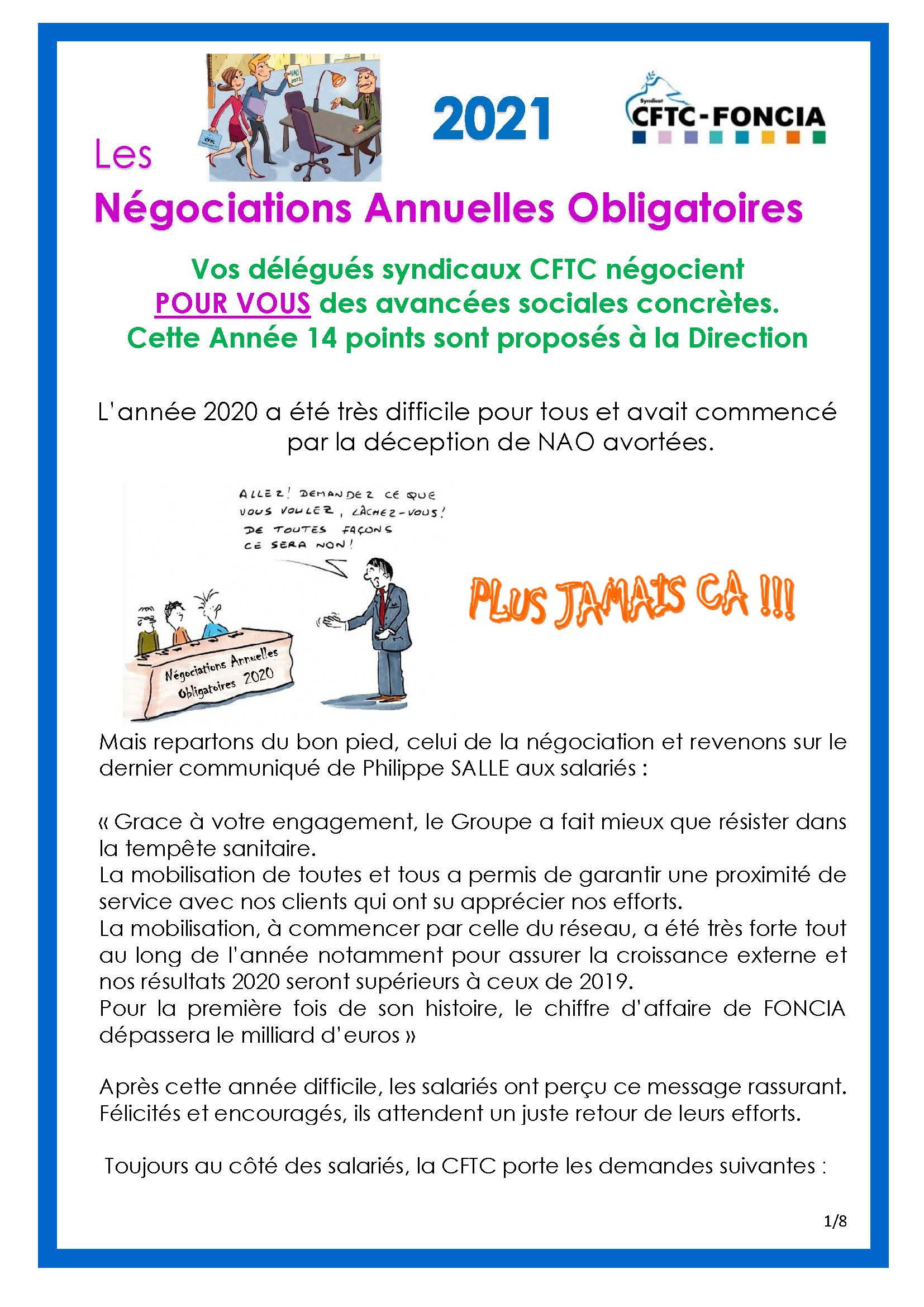 NAO 2021 – Revendications de la CFTC